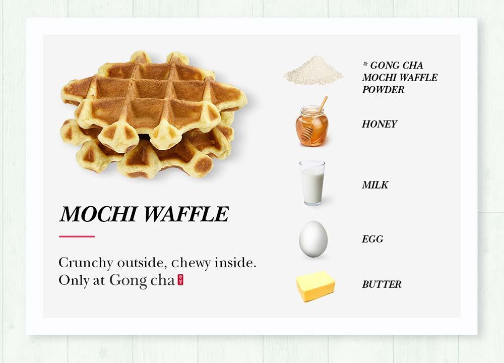 Mochi Waffle - Gong cha Mochi Waffle Powder, Honey, Milk, Egg, and Butter