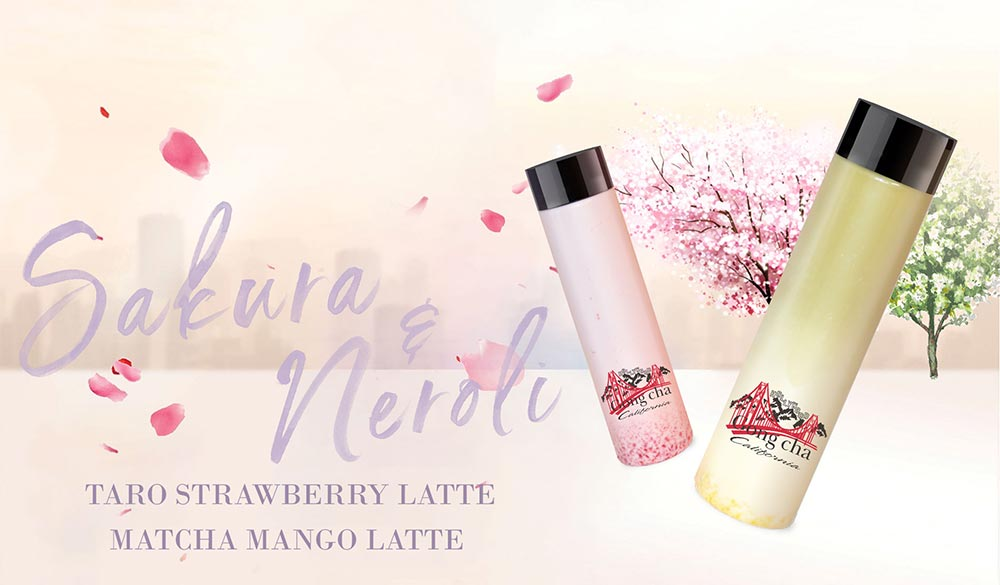 Sakura and Neroli - Taro Strawberry Latte and Matcha Mango Latte