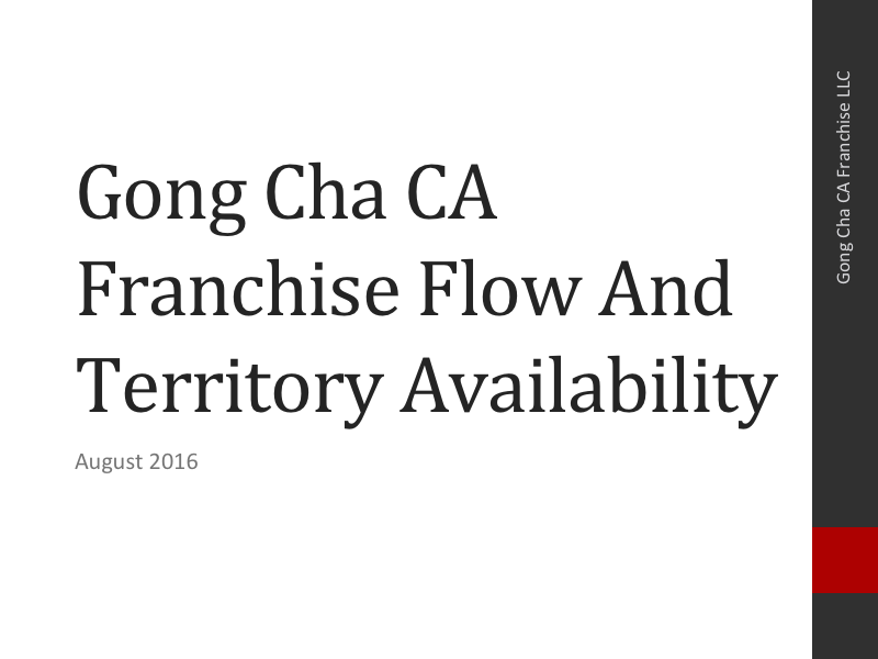 Gong Cha CA Franchise Flow and Territory Availability