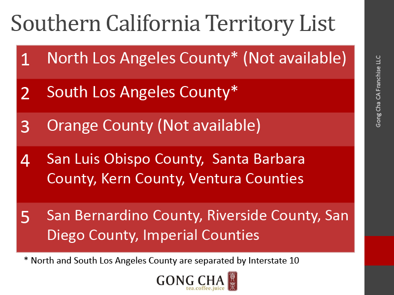Southern California Territory List
