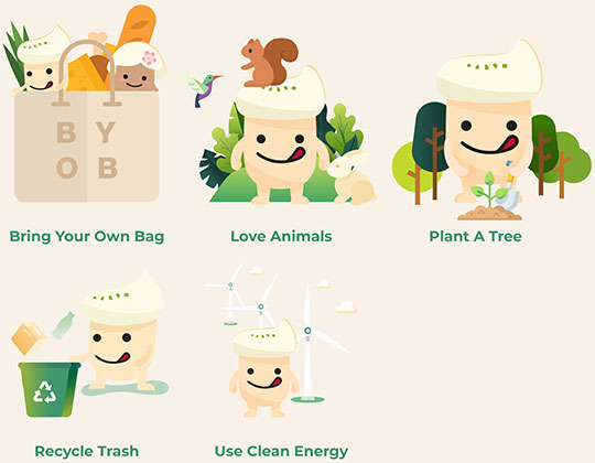 Bring Your Own Bag, Love Animals, Plant A Tree, Recycle Trash, Use Clean Energy