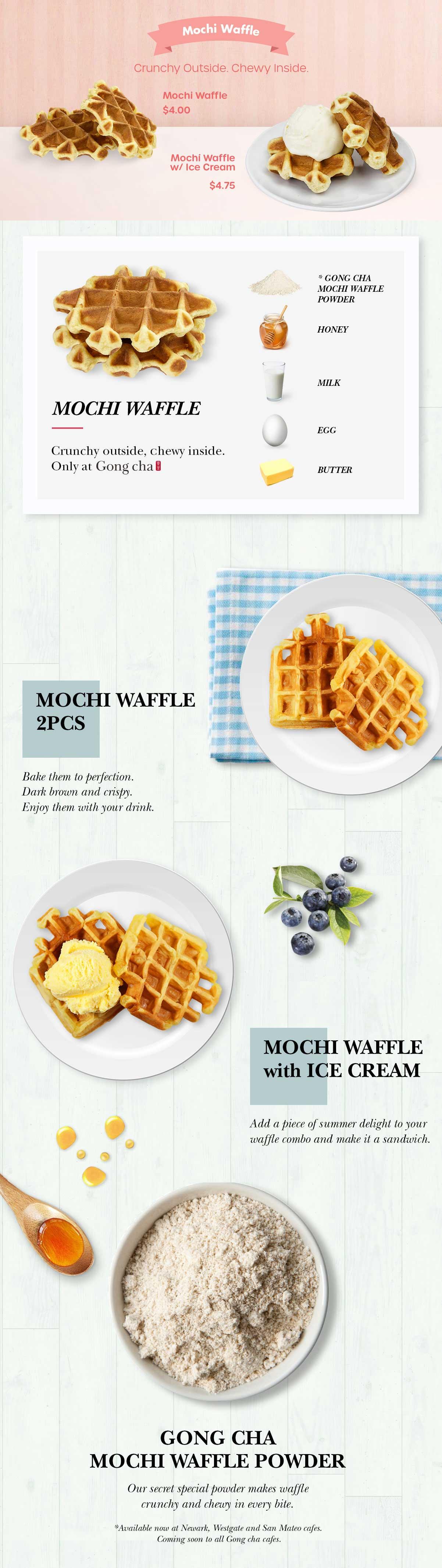 Mochi Waffle - Crunchy outside, chewy inside.