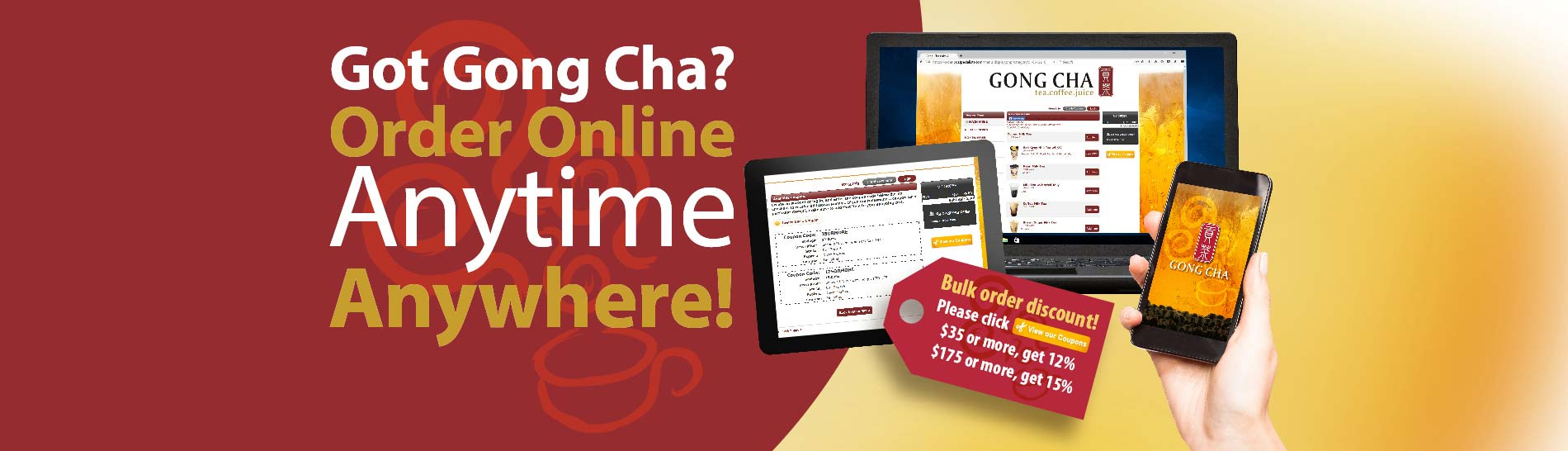 Got Gong Cha? Order Online Anytime Anywhere!